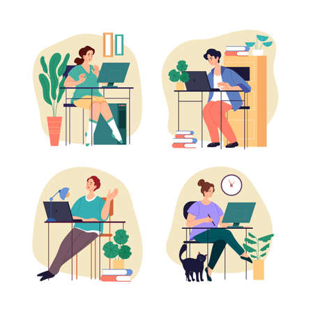 People workers students characters working studing home. Home office freelance concept. Vector graphic design flat simple modern illustration Stock Illustratie