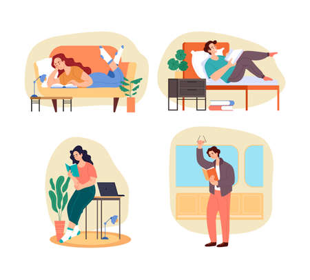 People students characters reading book home and outside and prepare examination concept isolated set. Vector graphic design flat simple modern illustration