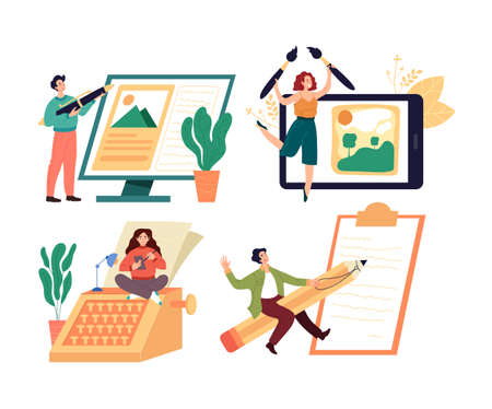 People workers characters journalist copywriter content manager blogger profession isolated set. Vector graphic design flat simple modern illustration Stock Illustratie