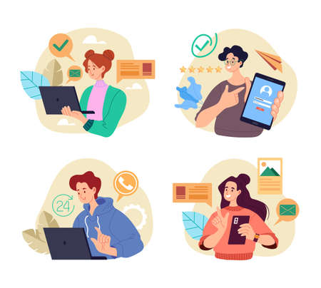 People students workers characters using phone laptop device concept isolated set. Vector graphic design flat simple modern illustration Stock Illustratie