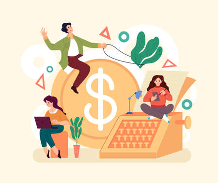 Economy management earnings income financial investment concept. Vector simple modern style graphic design illustration