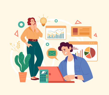 Business analytics people team working. Vector simple modern style graphic design illustration