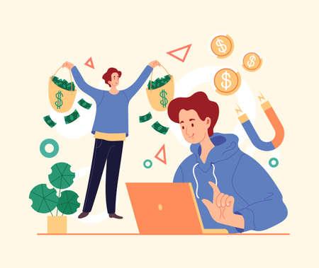 Online internet business money project freelance work. Vector simple modern style graphic design illustration Stock Illustratie
