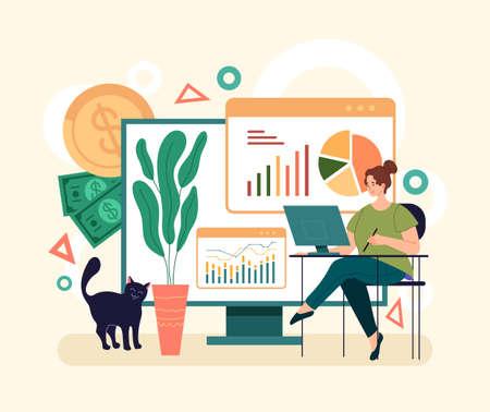 Online web internet finance analytics concept. Vector simple modern style graphic design illustration