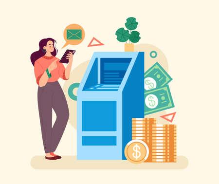 ATM transaction line concept. Vector simple modern style graphic design illustration Stock Illustratie