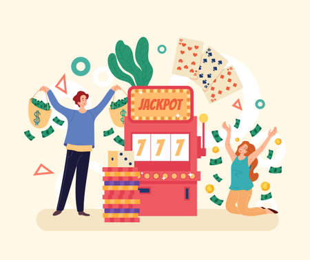 Casino winners people characters concept. Vector simple modern style graphic design illustration