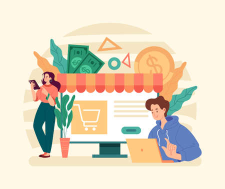 Online web business ecommerce shopping sale discount retail concept. Vector graphic modern style design illustration Stock Illustratie
