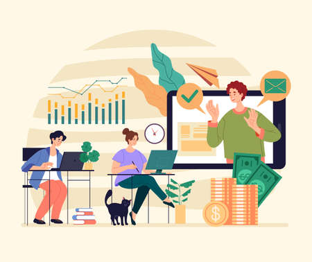 Online web inernet financial consultant teacher seminar tutorial conference concept. Vector graphic modern style design illustration