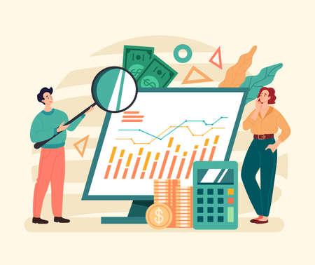 Business finance analytics teamwork financial stratsgy concept. Vector graphic modern style design illustration