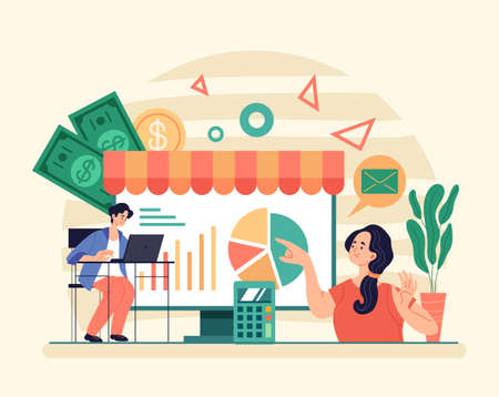 Online web traiding banking financial economy growth concept. Vector graphic modern style design illustration