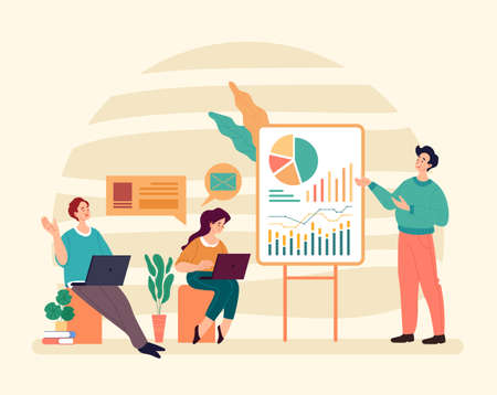 Business training class tutorial coaching teaching concept. Vector graphic modern style design illustration