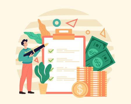 Tax money return payed refund concept. Vector graphic modern style design illustration