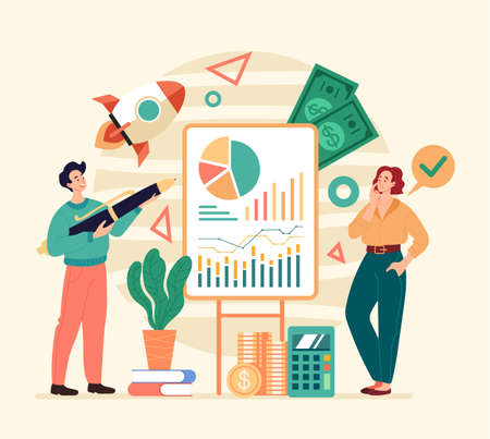New business project investment development teamwork concept. Flat illustration graphic design concept