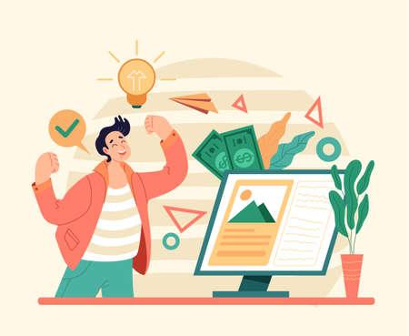 Internet inspiration for good bsiness start up fresh idea investment. Flat illustration graphic design concept