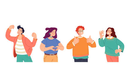 People man woman boys girls characters with positive emotions and gesturing set. Flat illustration graphic design concept