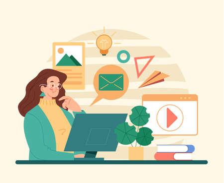 Woman character using computer internet social media. Flat illustration graphic design concept