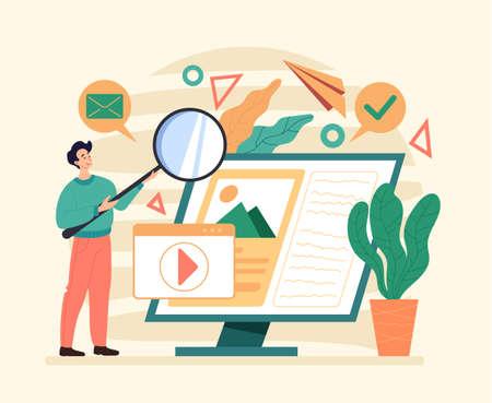 Internet online web siter searching. Flat illustration graphic design concept