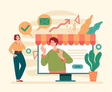 Internet business development optimization online web store trading. Flat illustration graphic design concept Stock Illustratie