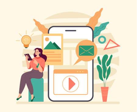 Smartphone digital capabilities. Flat illustration graphic design concept