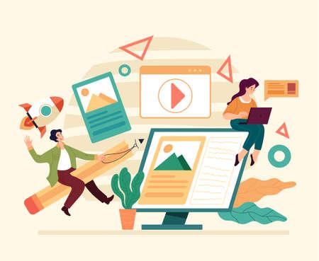 Digital design project development teamwork. Flat illustration graphic design concept Stock Illustratie