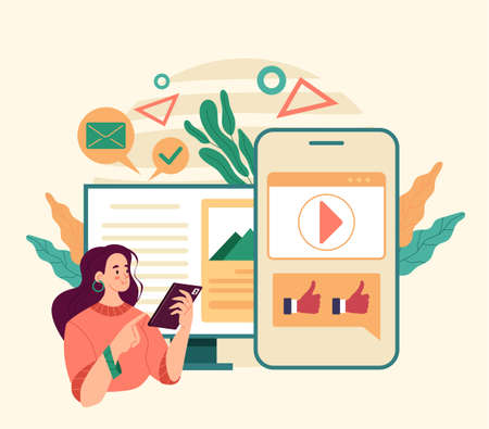Woman user character using smartphone and communicate. Online web internet social media gadget using. Flat illustration graphic design concept