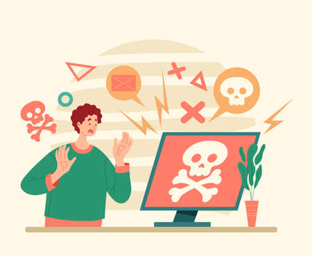 Hacker attack computer virus. Flat illustration graphic design concept