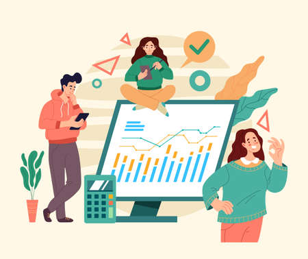 Business online web internet analytics office teamwork. Flat illustration graphic design concept