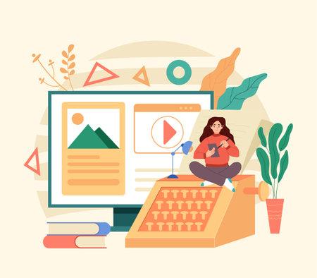 Writer copywriter journalist blogger freelancer. Flat illustration graphic design concept