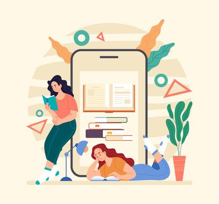 People girls women student reading book by smartphone. Online web internet digital reader. Flat illustration graphic design concept