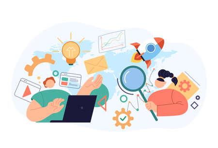 SEO searching internet online optimisation concept. Vector flat cartoon modern style abstract illustration