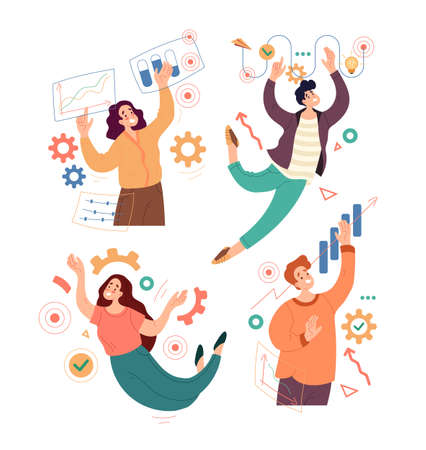 People man woman character takiing part of business workflow operations. Vector flat cartoon modern style abstract illustration set Stock Illustratie