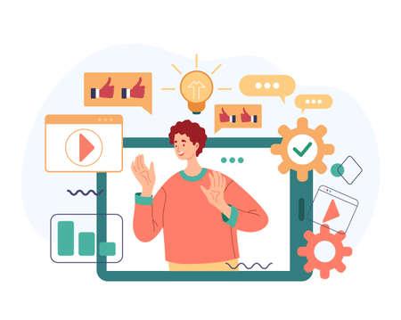 Social media management blogging online internet web influence concept. Vector flat cartoon modern style abstract illustration Stock Illustratie