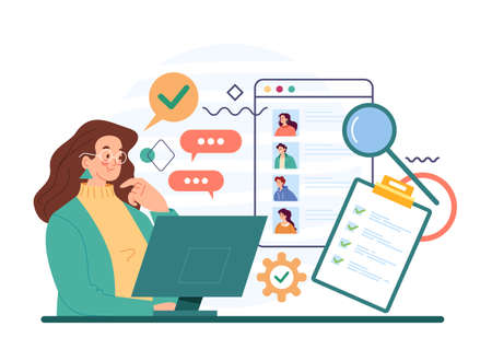 Woman bass character choosing job work candidate. Recruitment head hunting human resources concept. Vector flat cartoon modern style abstract illustration