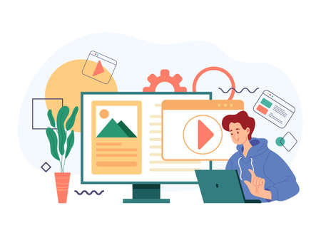 Modern simple style front end development flat cartoon abstract illustration