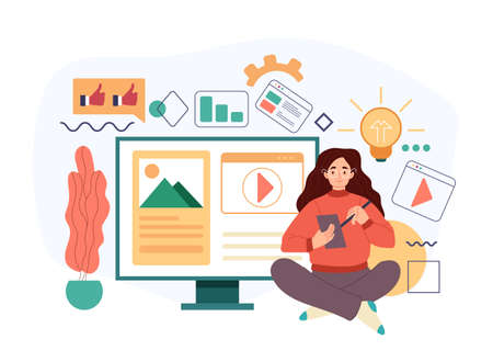 Woman character blogger copywriter journalist content manager working. Vector flat cartoon modern style abstract illustration Stock Illustratie