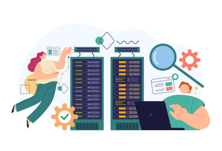 System administrator service teamwork concept. Vector flat cartoon modern style abstract illustration