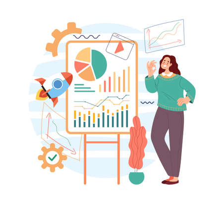 Business woman character office worker present project buiness plan management concept. Vector flat cartoon modern style abstract illustratio