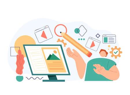 Designer freelance worker working and drawing digital art design interface. Vector flat cartoon modern style abstract illustration