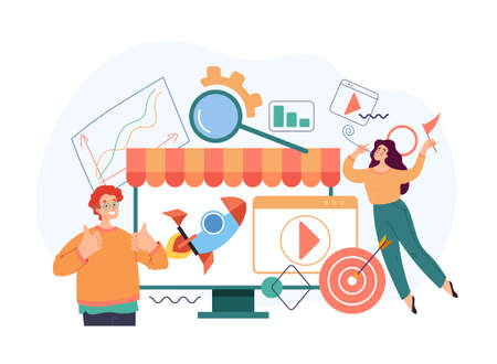 Online web internet marketing store trading start up new business concept. Vector flat cartoon modern style abstract illustration