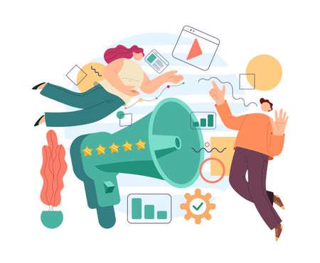 Pr management network promotion advertising social media concept. Vector flat cartoon modern style abstract illustration Stock Illustratie