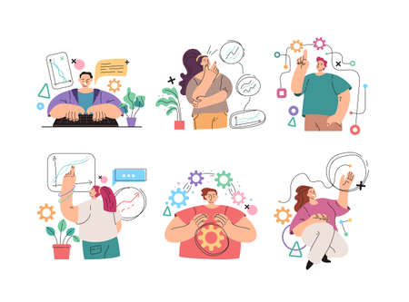 Man woman people manager business person office worker character making internet online business activity isolated set. Vector flat simple modern style illustration Illustration