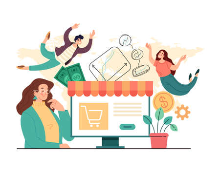 Online web internet trading sale business concept. Vector flat simple modern style illustration