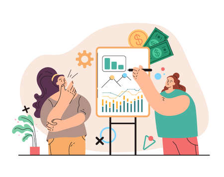 Woman character financial business consultant concept. Vector flat simple modern style illustration
