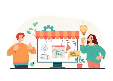 New business start up entrepreneur people team planning concept. Vector flat simple modern style illustration