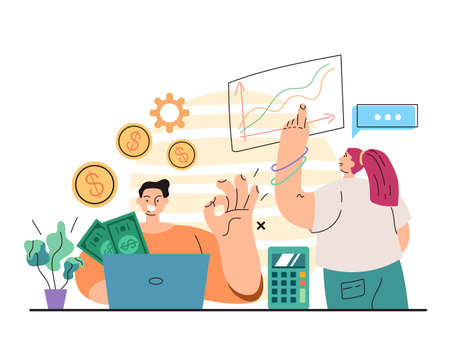 Man bank office manager worker character counting money income concept. Vector flat simple modern style illustration Illustration