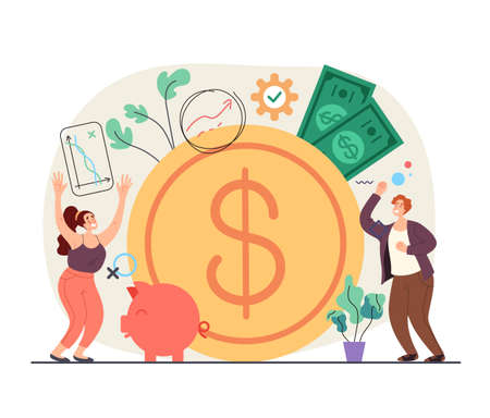 Happy people man woman characters enjoy to money income increase business success concept. Vector flat simple modern style illustration