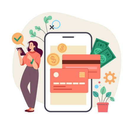 Woman consumer bank client taking credit money online by smartphone internet. Online internet banking concept. Vector flat simple modern style illustration