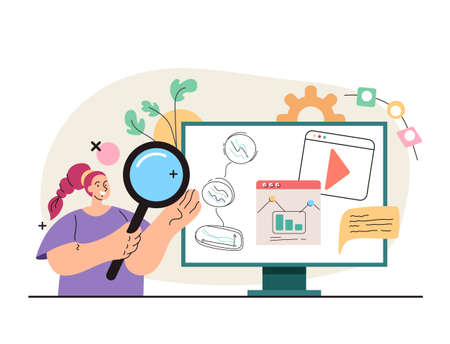 Online business analytics searching concept. Vector flat simple modern style illustration