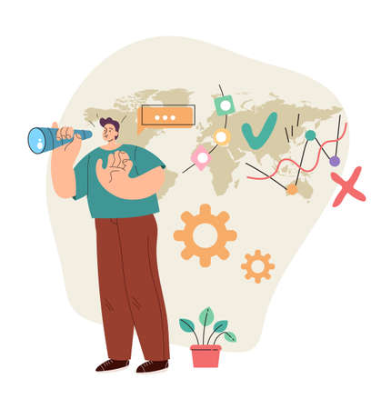Business man office worker character loking future opportunity through binoculars concept. Modern style simple flat vector illustration