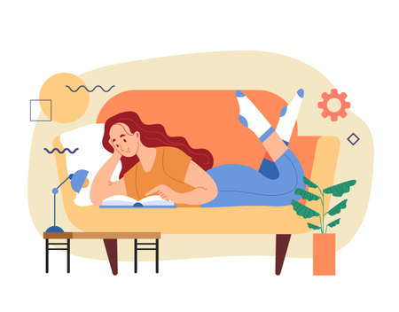 Woman girl worker student character laying on sofa and reading book. Distant online internet education concept. Modern style simple flat vector illustration